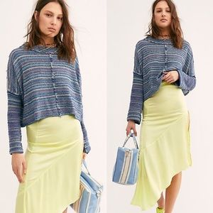 NWT Free People crop sweatshirt Catalina blue xs
